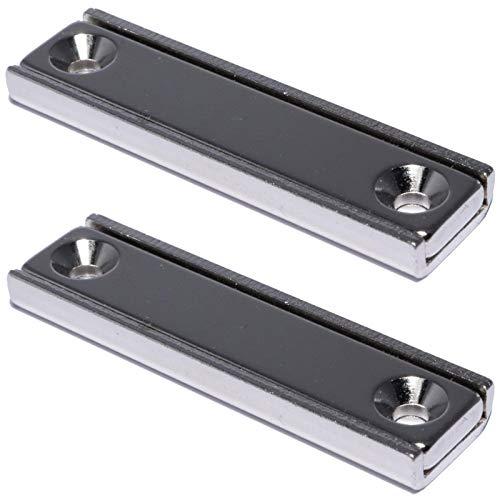 Neodym Magnet mit Bohrung Senkung - Extra Starke Topfmagnete 50mm x 13,5mm - 20 KG Zugkraft - Flachgreifer Quader mit M3 - Senkbohrung [2 Stück]