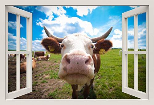 Unified Distribution Kuh Porträt - Wandtattoo mit 3D Effekt, Aufkleber für Wände und Türen Größe: 92x61 cm, Stil: Fenster