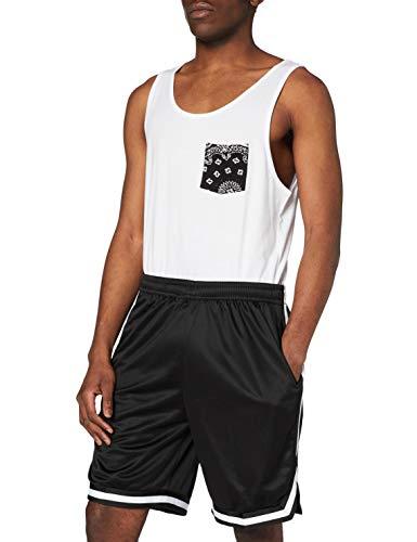 Urban Classics Stripes Mesh Shorts Pantaloncini, Multicolore (blkblkwht 52), M Uomo