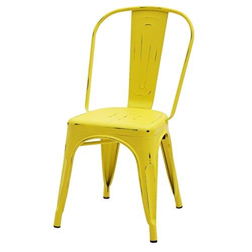 ARREDinITALY - Chaise empilable en métal style industriel Tolix - Réplique en métal jaune vieilli