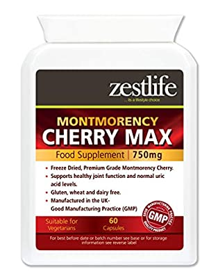 Zestlife Montmorency Cherry 60 Capsules for Exercise Recovery, Muscles, Joint Support and Natural Sleep Patterns.