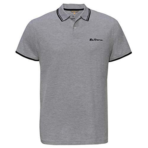 Ben Sherman Klassisches Poloshirt für Herren, kurzärmelig, Piqué-Stil Gr. M, grau