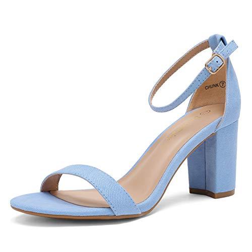 DREAM PAIRS Women's Chunk Baby Blue Suede Low Heel Pump Sandals - 9 M US