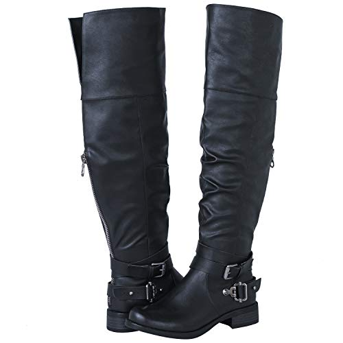 GLOBALWIN Women's 18YY26 Over the Knee Black Fashion Boots 8M