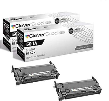 CS Compatible Toner Cartridge Replacement for HP 3600 Q6470A Black HP 501A Color Laserjet 3600 3600N 3600DN 3800 3800N 3800DN 3800DTN CP3505 CP3505N CP3505DN CP3505X 2 Set