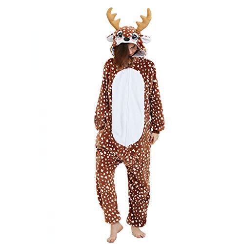 ANBOTA Reindeer Costume Deer Onesie for Adult Women Men Halloween Pajama, Deer, L