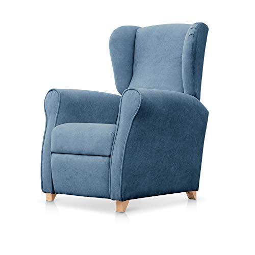 SUENOSZZZ-ESPECIALISTAS DEL DESCANSO Sillón Relax orejero Irene reclinable con Patas de Madera, Relax nórdico tapizado en Tela Antimanchas Azul