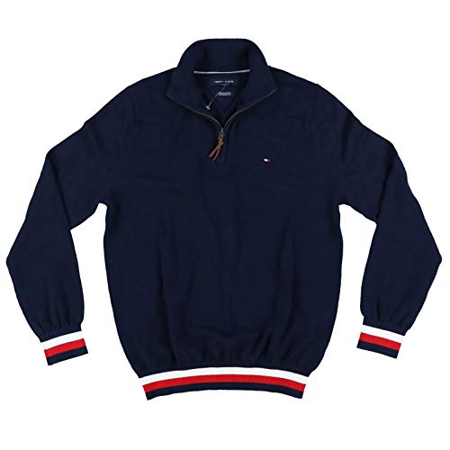 Tommy Hilfiger Mens Quarter Zip Sweater (Medium, Navy Blue)