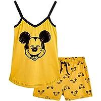 Disney Pijamas Mujer, Ropa Mujer de Algodón, Pijama Mujer Verano Corto de Mickey Mouse o Minnie Mouse, Set con Camiseta Tirantes Mujer y Pantalón Corto, Regalos para Mujer Adolescentes (Mostaza, M)