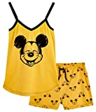 Disney Lounge Wear - Set de pijama para mujer, 100% algodón, Mickey Mouse y Minnie Mouse Amarillo Mostaza M