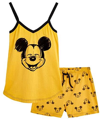 DisneySet Damen-Loungewear, 100 % Baumwolle, Pyjama für Damen mit Micky Maus und Minnie Maus, Schlafanzug, Geschenke für Teenager, Mädchen Gr. X-Large, senffarben