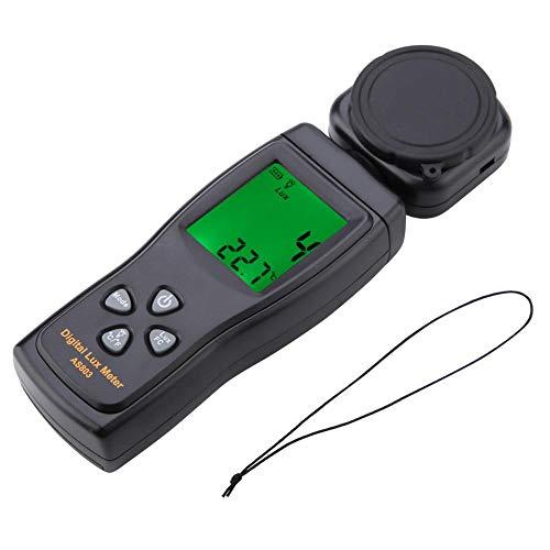 Walfront - Medidor digital para medición luminosa, medidor de temperatura ambiente SMART SENSOR AS803 Mini LCD, pantalla digital Luxímetro de luz de 10 a 50 °C