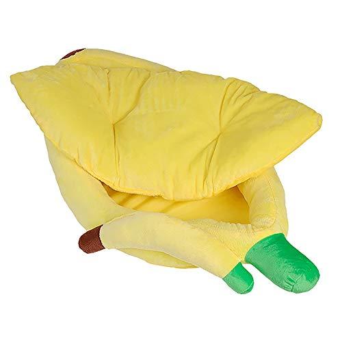 MxZas Huisdier-bed-kat hondenmand Universeel comfort, leuk warm banaan huisdier-bed - Soft Comfy wasbaar kat hondenbed