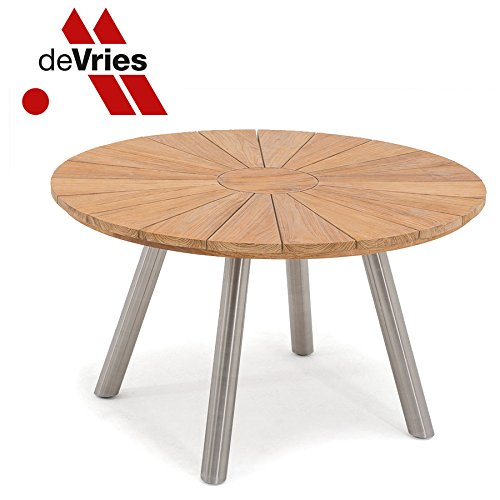 DEVRIES TEAK/ROESTVRIJ STAAL FJORD tafel rond Ø 130 cm