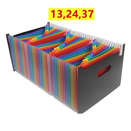 WWJYY opbergdoos voor bureau, documententas voor accordeon, A4, meerkleurig, A4-map, A4-formaat, uittrekbare ordner met deksel, 24 etages