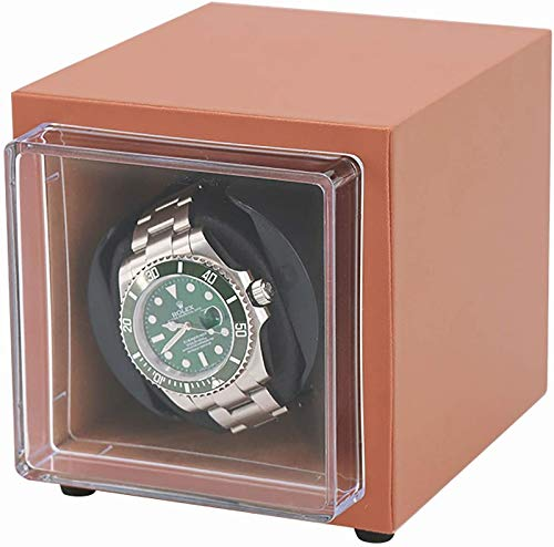 JJDSN Mini Reloj mecánico Caja de Cuerda automática Bobinadora de Reloj Individual Agitador de Reloj de Doble Potencia Caja de Almacenamiento de Reloj de Cuero PU para el hogar Portátil Adecuado p
