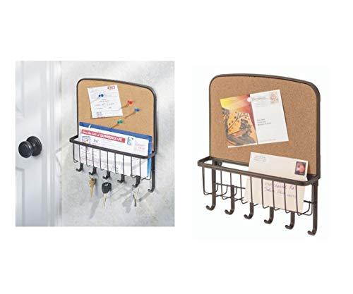 InterDesign York Lyra Wandorganizer, mit Korktafel, offener Briefkorb mit Schlüsselbrett mit 6 Haken aus Metall, bronzefarben