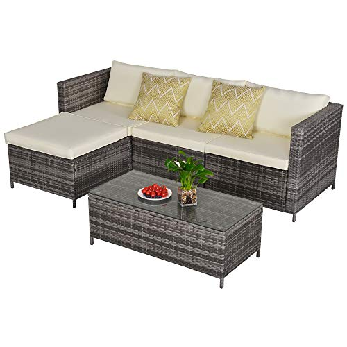Outdoor 5 Piece Furniture Set Patio Sectional Rattan Sofa Sets, All Weather PE Wicker Couch Conversation Set with Table, Brushed Mixed Gray Wicker, Cream White Cushions