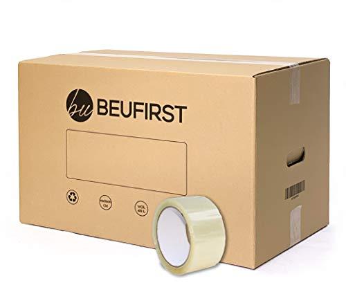 Beufirst Pack de 10 Cajas de Cartón con Asas 440x300x300mm, y Cinta Adhesiva, Cajas para Mudanza, Envíos, Almacenaje y Transporte