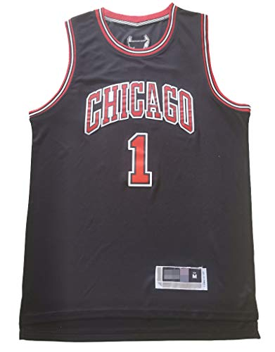 Maglie da basket da uomo, maglia Chicago Derrick Rose # 1 nera Chicago Bulls, t-shirt senza maniche unisex-XXXL