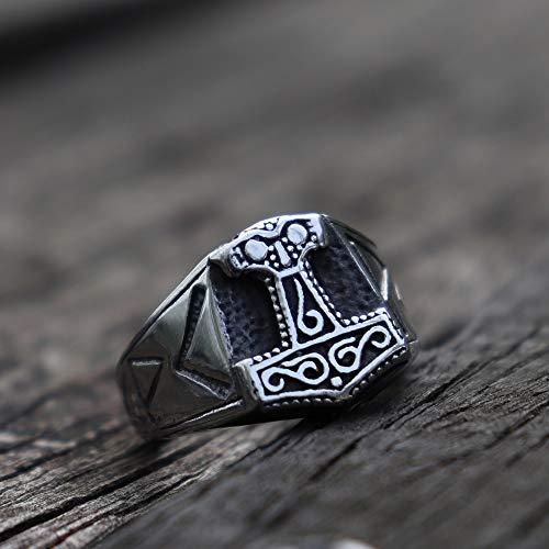CHCO Mens Viking Odin Mjolnir Bague en Acier Inoxydable Thor Hammer Runes Amulette Anneaux Nordique Biker Bijoux 8