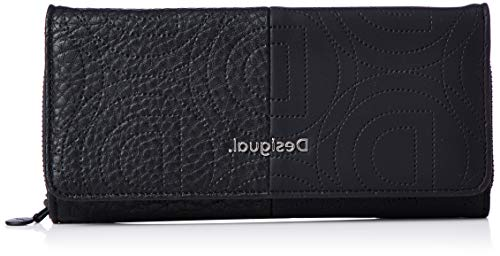 Desigual portemonnee Mone_Minuet MARIA2000 Negro 20SAYP082000U Afmetingen: 20,2 (L) x 3,5 (B) x 9,5 (H) cm, ritssluitingen en drukknop