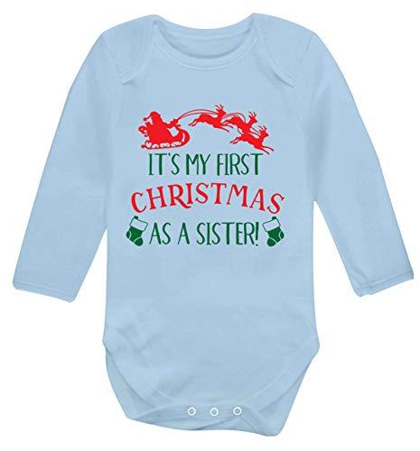 Flox Creative Gilet à Manches Longues pour bébé Inscription First Christmas as a Sister - Bleu - Nouveau né