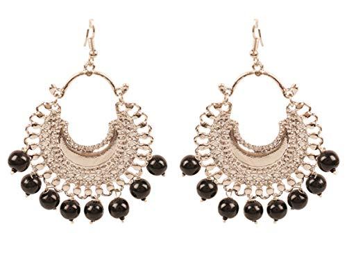 Touchstone'tribal bohemio elegante' gitano indio joyería-afghani chand baali luna tema perlas pendientes de araña de diseño para mujer Negro