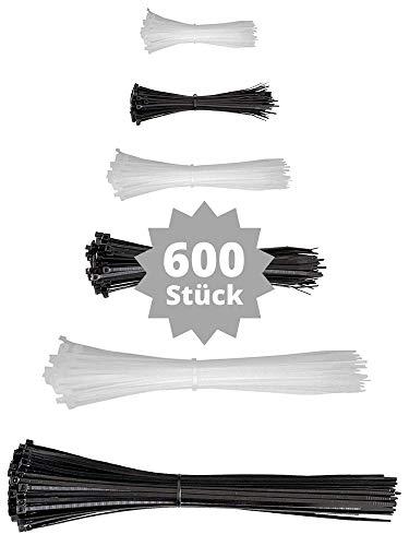 djb, extra hochwertige Profi Kabelbinder, schwarz/weiss-natur, Set, 600 Stück, Industrie-Qualität, Sortiment 75/100/135/160/200/290 mm