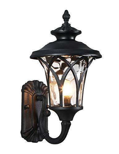 Charoom Lámpara de pared para exteriores vintage, resistente al agua, diseño retro, color negro mate con cristal martillado, para jardín