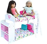 PZAS Toys Doll Bunk Bed - Doll Bunk Bed for 18 Inch Dolls Complete with Linens, Pajamas, Teddy Bear, and Shelves, Compatible with American Girl Doll Furniture and Accessories