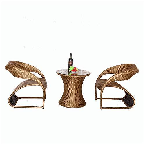 NVBXDF 1rattan Balcony Furniture Set, Furniture Terrace - Garden Furniture - Table Set Balcony Lounge Set 2x Chairs Rattan And 1x Table Rattan Garden -Golden