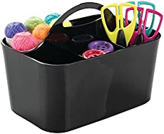 mDesign Plastic Portable Craft Storage Organizer Caddy Tote, Divided Basket Bin with Handle for Craft, Sewing, Art Supplies - Holds Paint Brushes, Colored Pencils, Stickers, Glue - Black