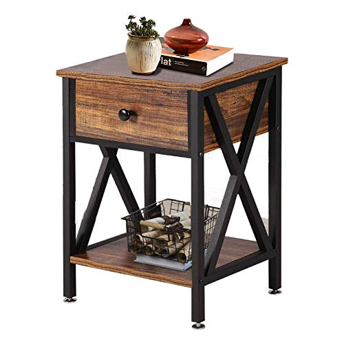 YAKEY Nightstands, Modern Versatile X-Design Side Table, Night Stand Storage Shelf with Bin Drawer, End Table for Living Room, Easy Assembly Rustic Nightstand, (Brown and Black)