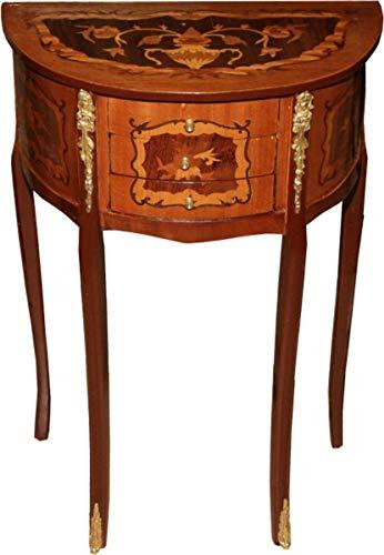 Casa Padrino Barock Kommode mit 3 Schubladen Braun Intarsien H 70 cm, B 45 cm - Antik Stil - Nachttisch Konsole