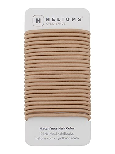 Cyndibands Sandy Blonde No-Metal 4mm, 1.75 Inch Elastic Hair Ties Color Match Ponytail Holders - 24 Count