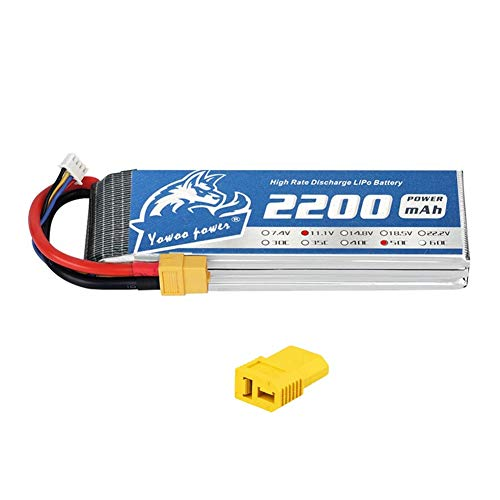 YOWOO 2200mAh LiPo Battery 11.1V 50C 3S LiPo Battery with XT60 and Deans Plug for E flite Valiant Parkzone E4F Wildcat Great Planes E-Cub RC Car Boat Truck Heli Airplane Quadcopter Helicopter