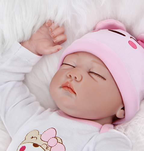 ZIYIUI 55cm 22In Reborn Bebe Niñas Realista Muñecos Bebé Renacido Durmiendo Vinilo Silicona Suave Juguetes ojos Cerrados niña