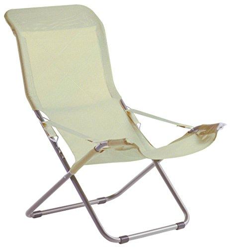 fiam Deck Chair Fiesta Aluminum Frame and textile cod. 027TXBIBE white-beige texilene color
