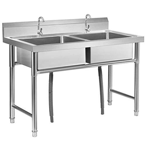 KAISIMYS Fregadero Engrosado Comercial de Acero Inoxidable para hostelería con Grifo, fácil de Limpiar y Fortalecer la Carga, para Hotel/Restaurante/Cocina