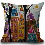 Pintado a Mano casa Abstracta Corteza Lino algodón Decorativo Almohada hogar centímetro de Regalo
