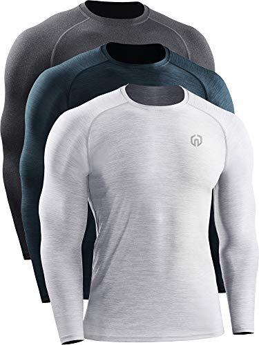 Neleus Dry Fit Athletic Performance Camisa para hombre - Blanco - Small
