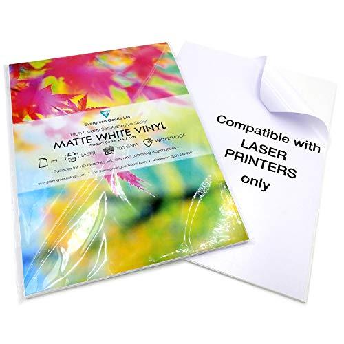 10 fogli di qualità bianco impermeabile A4 vinile opaco autoadesivo stampa laser