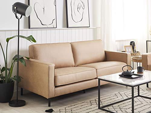 Beliani Sofa 3-Sitzer Lederoptik modernes Ledersofa in Beige Couchsofa Wohnzimmersofa Savalen