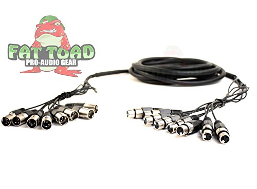 XLR Snake Cable Patch (8 Channels) by Fat Toad|Studio, Stage, Live Sound Recording Multicore Cords|Pro Audio Shielded Balanced Double-Sided Microphone Cables for DJ Digital Mixers or Amplifiers|10 ft