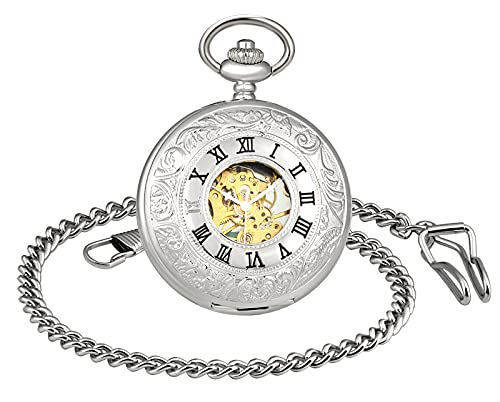 SUPBRO Reloj de bolsillo para hombre y mujer, de acero inoxidable, mecánico, automático, con cadena, analógico., plata,