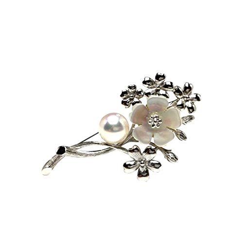 Isowa Pearl(伊勢志摩の真珠専門店 イソワパール) アコヤ真珠 ブローチ 9.2mm ホワイトピンク シルバー シェル フラワー 植物 66620