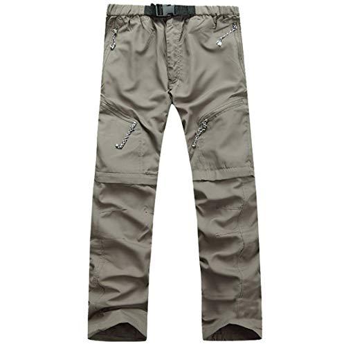 SHOULIEER Summer Men Pants Removable Climbing Cargo Pants Men Clothing Hiking Camping Trousers Khaki L