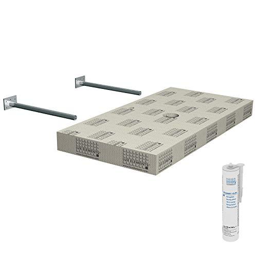 LUX ELEMENTS Waschtisch für Aufsatzwaschbecken Fertig zum Verfliesen, 117 x 58,5 x 10 cm LLAVE5001, Grau