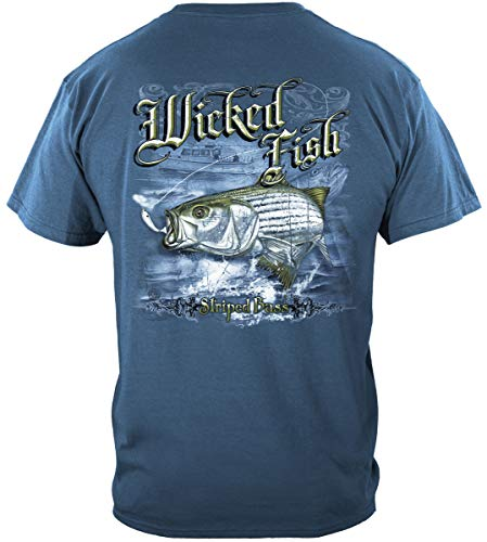 Striped Bass Fishing 100% Cotton Casual Men's Shirts, Show Your Love of Fishing with Our Unisex Wicked Fish Striper Bass Saltwater Fishing T-Shirts for Men or Women (Large) Indigo Blue
